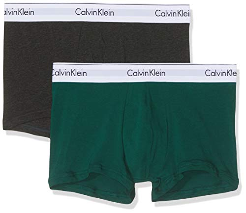 Calvin Klein Herren Trunk 2PK Boxershorts, Grau (Charcoal Heather/Rainforest Kkw), Medium (Herstellergröße: M) (Calvin Klein Unterwäsche Herren 2 Pack)