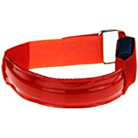 King of Flash Red Nylon LED 3 Setting Flasing Night Time Safety Band For Cyclists, Climbers, Runners, Dancers, Athletes Watre Resistant