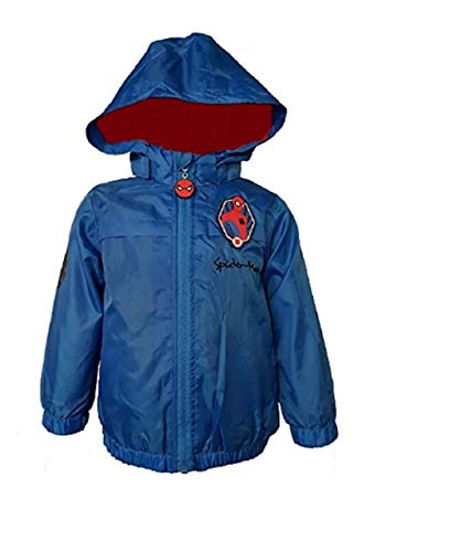 Boys Kids Spiderman Rain Mac Coat Jacket Fleece Water Resistant Hood Pac A Mac Pacable