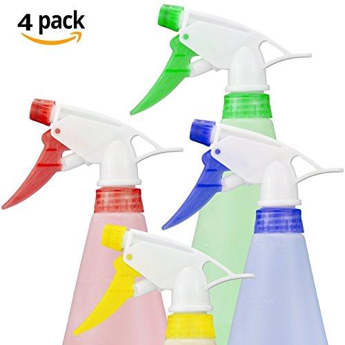 4-x-750ml-leere-sprhflasche-heavy-duty-transparent-mit-verschiedenfarbigen-kopfteilen