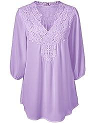 Mena UK Mena UK-Women's Loose Lace Chiffon Hollow Chiffon Top Camiseta Camiseta Blusa / T-shirt ( Color : Purple , Tamaño : L )