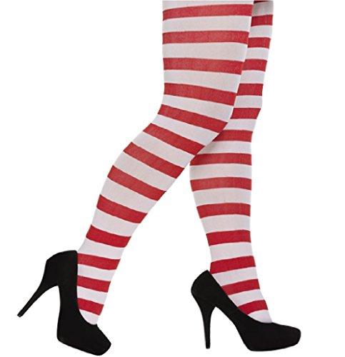 Damen Kostüm Rot und Weiß Gestreifte Strumpfhosen / Elfen / Weihnachten / Wally (Rot Und Weiß Gestreifte Strumpfhose Kostüm)