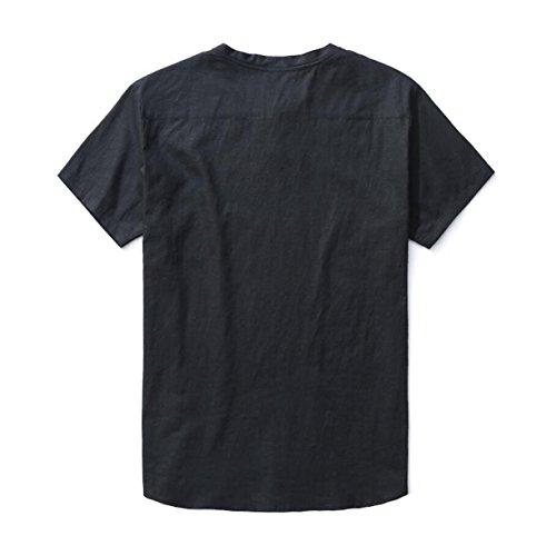 Sommermänner Beiläufige Lose Fett XL Baumwolle Kurzarm-T-Shirt Hemd Black