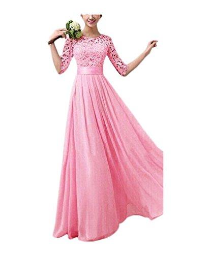 Ghope Femme Fille Robe Dentelle Demoiselle d'Honneur Soirée Mariage Elégant Princesse Robe Longue Chiffon Rose