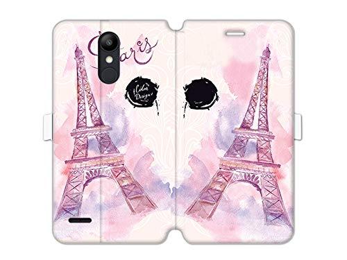 etuo LG K8 (2018) - Hülle Wallet Book Fantastic - Rosa Eiffelturm - Handyhülle Schutzhülle Etui Case Cover Tasche für Handy