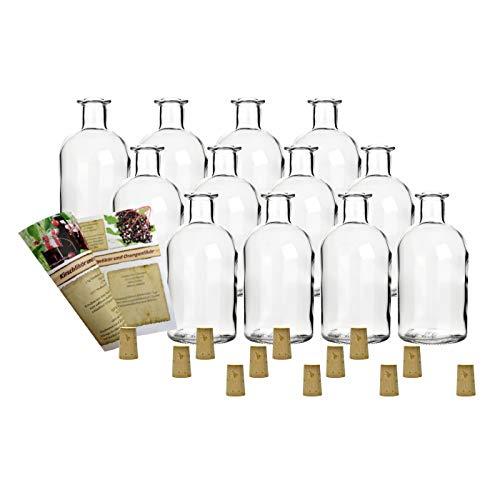 """12 leere Glasflaschen \""""Apotheker 250 ml\"""" incl. Korken zum selbst Abfüllen Likörflasche Schnapsflasche"""