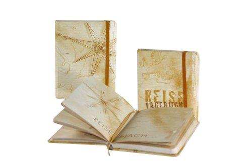 Goldbuch Reisetagebuch, 200 illustrierte Seiten, 17 x 13 cm, Gummibandverschluss, Kunstdruck laminiert, Hellbraun, 66300