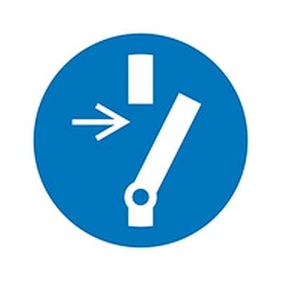Aufkleber Vor Wartung oder Reparatur freischalten Gebotszeichen / Bogen Größe Einzeletikett (Durchm.): 5,0cm Folie 6 Stk/Bogen