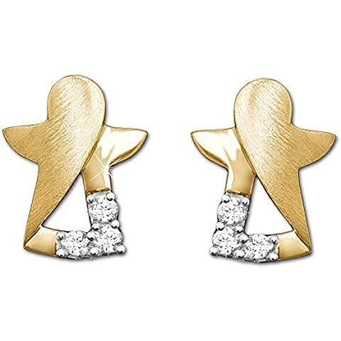 CLEVER SCHMUCK Orecchini a forma di angelo stilizzato, con interno aperto, finitura opaca/lucida, con 3 zirconi, in vero oro 333