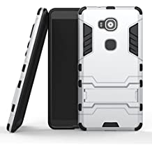 "Huawei G7 Plus / G8 / GX8 (5.5"") Funda, YEESOON Híbrida Rugged Armor Case Choque Absorción Protección Dual Layer Durable Bumper Carcasa con pata de Cabra para Huawei G7 Plus / G8 / GX8 (5.5"") (Plata)"