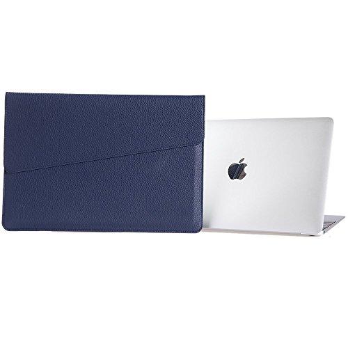 Preisvergleich Produktbild LIANG MacBook air MacBook Pro iPad Air2 11.6,  12,  13.3,  15.4 zoll hülle leder tasche Hülsenkoffer PU-Leder Laptoptasche Schützend Tragen Hüllen(15.4 Zoll, blau)