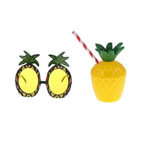 Gazechimp Hawaiian Tropische Ananas Sonnenbrille & Ananas Becher Luau Strand Party Kostüm