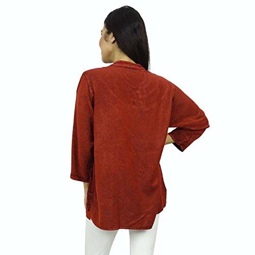 Vêtements femme pleine manches Rayon Top Tunique Embroiderd vêtements d'été Marron