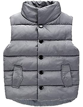 Niños Chaleco Caliente Sin Mangas Sólido Color Invierno Ropa Abajo Abrigo Calienta Outwear Para Chicos Y Niñas...