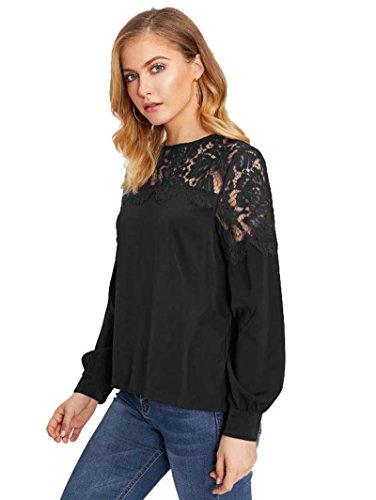 ROMWE Damen Elegant Bluse mit Blumenmuster-Spitze Langarm Shirt Oberteil Schwarz L