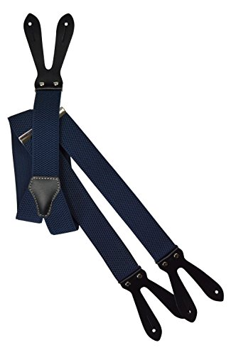 Olata unisex bretelle regolabili con vera pelle asole, 3.5cm larghezza - blu scuro