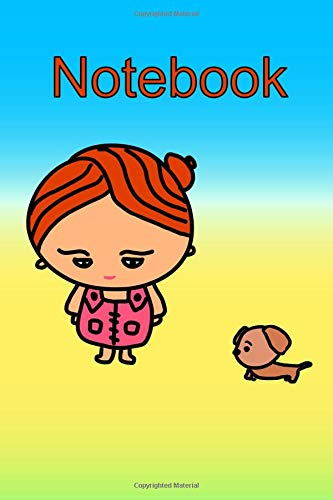 Kawaii Girl and Dog On The Beach Notebook: Chibi lovers! Cutely illustrated Kawaii design journal with Placeholders for Subject and Date on each page. ... is subtly added to each page for added appeal