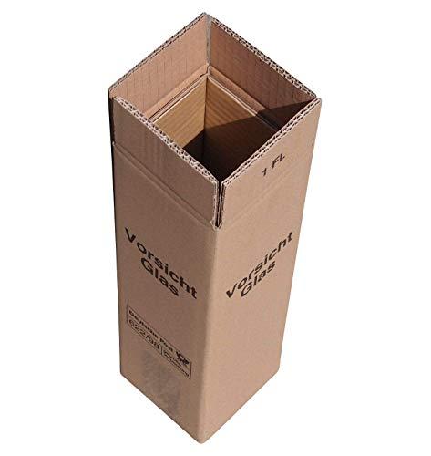 flaschen verschicken 20 x Weinversandkarton Weinkarton für 1 Flasche DHL und UPS zertifiziert - Je 1 Umkarton - 1 Hülse - 1 Deckel