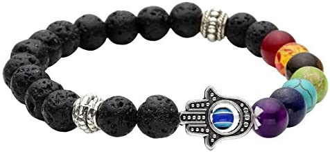 Healing Accessories Certified Natural Stones, 7 Chakra & Hamsa Hand Reiki/Yoga Positive Energy Beads Stylish Bracelet. Fashion Jewellery by Hot and Bold.