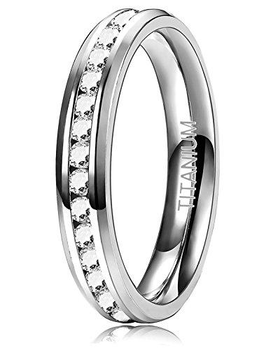 Sailimue 4mm Titan Damen Ringe für Mädchen Frauen Ring Hochzeit Verlobung Band Ringe Mit CZ - Frauen Hochzeit-band-ring Für