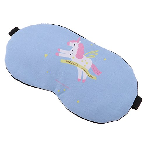 Sharplace Máscara de Ojos Antifaces para Dormir Cansancio Eyeshade Calor Fresco Regalo para Adultos Niños - Caballo Azul