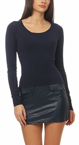 Fashion4Young 4814 Damen Feinstrick Kleid Pullover m. Rock Lederimitat Strickkleid Minikleid (dunkelblau, S/M=34/36)