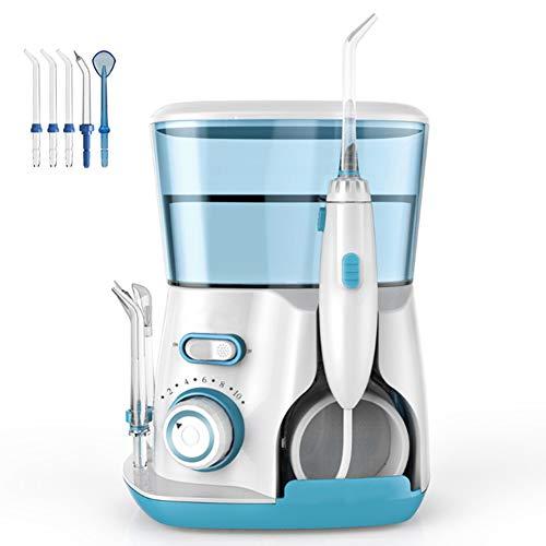 Zahnseidenreiniger Hochfrequenzimpuls Wasser Elektrische Mundspülung Mit 5 Austauschbaren Düsen 800ML Große Kapazität,Green