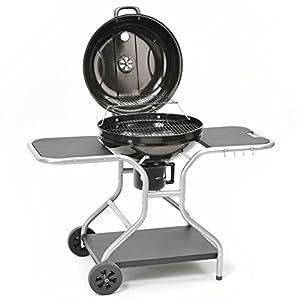 Kugelgrill XXL 57cm Holzkohle-Grill BBQ Standgrill hochwertig mit Deckel und Ablagen - große Grillfläche in schwarz