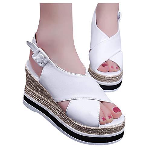 2019 Verano Mujer Sandalias Romanas Con Cuña Plataforma Alpargatas Zapatillas Peep-Toe Bohemia Casual Zapato De Vestir Fiesta(Blanco, 37 EU)
