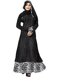 Justkartit Women's Lycra Printed Abaya Burkha with Chiffon Front (Free Size, Black, JK4918)
