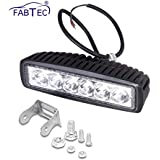 Fabtec Bar Spot Beam Off Road Driving 6 CREE LED Fog Light Lamp Universal Fitting for All Bikes and Cars (18W) - Pack of 1