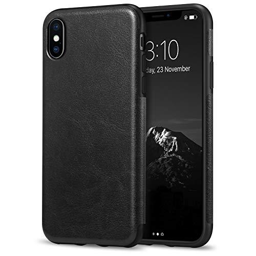 TENDLIN Coque iPhone XS/Coque iPhone X avec Cuir et TPU Silicone Hybride...