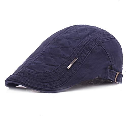 RICHTOER Retro Berets England Cotton Newsboy Cap Flat Caps Hunting Hat Autumn Outdoors (Navy) Cotton Flat Cap