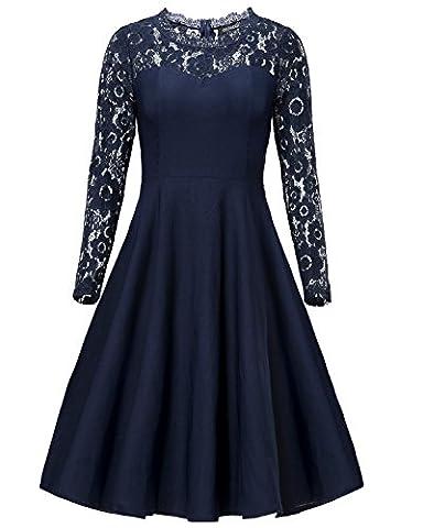 Gigileer Vintage Damen Kleider Spitzen Knielang Langarm Abendkleid festlich Cocktail Party Navy M