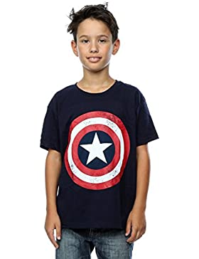 Marvel Niños Captain America Distressed Shield Camiseta