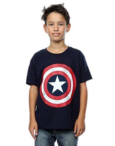 Marvel Jungen Captain America Distressed Shield T-Shirt 7-8 Years Marine (Captain Kinder America-shield)