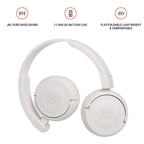 JBL T460BT Extra Bass Wireless On-Ear Headphones with Mic (White) Image 2