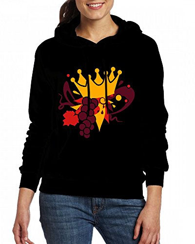 Custom Womens Hooded - Design A crown of vine leaves and grapes Hoodies Black