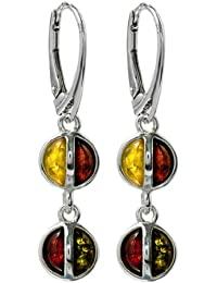 Multicolor Amber Sterling Silver Round Double-circled Leverback Earrings