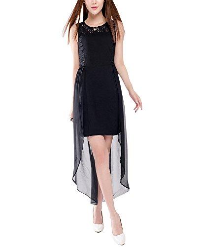 Moollyfox Donna Vestito Lungo Chiffon Pizzo Maxi Vestito da Cocktail Abito da Spiaggia Nero