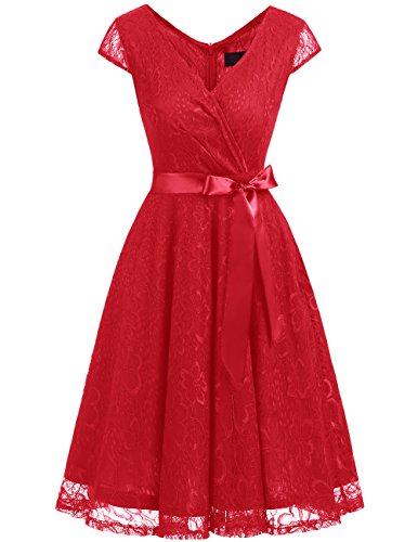 Dresstells Damen Spitzenkleid V-Ausschnitt kurz Brautjungfern Cocktailkleid Abendkleider Red S