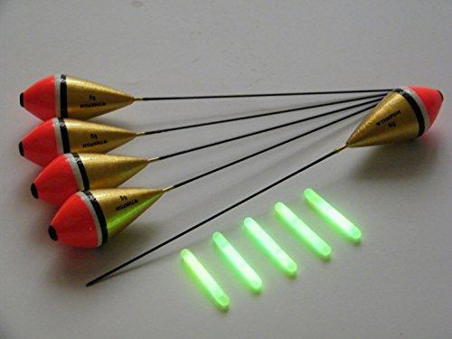 Juego de boyas de pesca de madera de paulonia con 10 flotadores de 6 gramos y 10 tubos luminosos para la noche