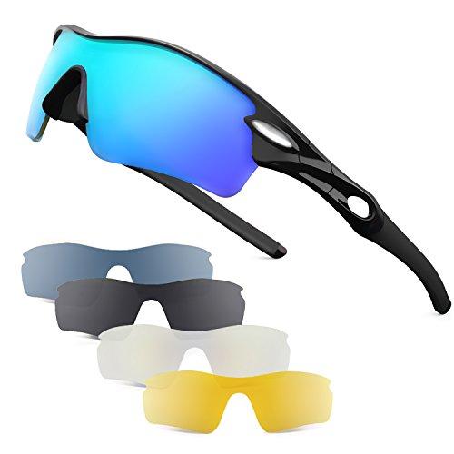 Patomos Polarisierte Sport-Sonnenbrille Polarisierte Sportbrille Fahrradbrille mit