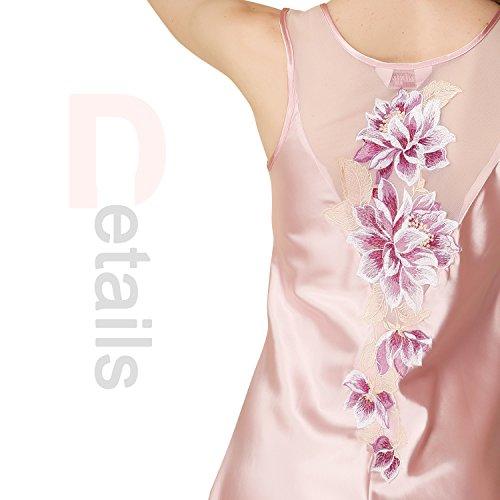 Dolamen Chemises de nuit Femmes Satin, Femmes Ensemble de Pyjama, Luxe et broderie florale sans manches chemise Chemise de nuit, Peignoir Nuisette Satin Rose