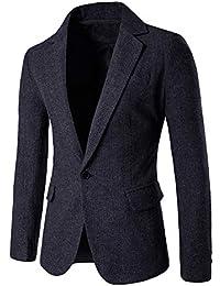 6851db58a55af8 Longra-Uomo Blazer Slim Fit Uomo Casual One Button Elegante Vestito di  Affari Cappotto Giacca Blazers Top Outwear Giacca di Lana per…