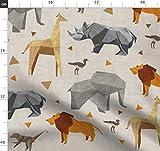 Origami, Safari, Tiere, Giraffe, Elefant, Nashorn, Affe