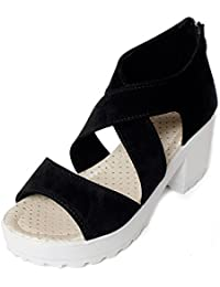 Meriggiare Women PU Black Heels