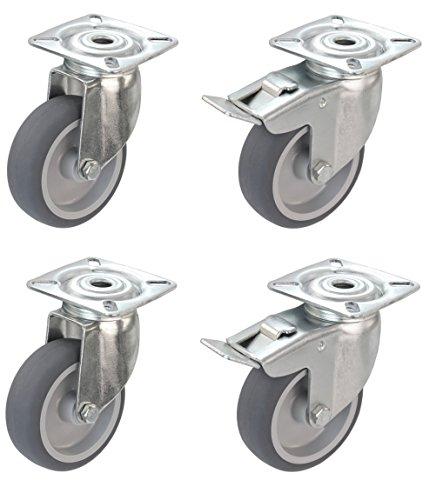 Satz Apparaterolle Lenkrolle mit ohne Bremse 75 mm ohne Feststeller Gummi grau-spurlos Anschraubplatte Möbelrolle Transportrolle