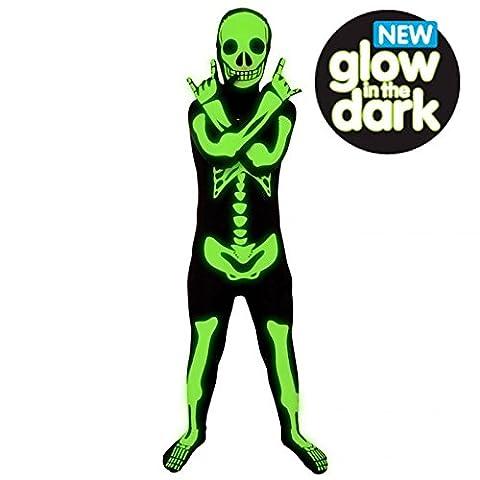 Unisexe pour enfant Fille Garçon Glow Morphsuit Costume Halloween de squelette pour déguisement 10–12 ans 137–152