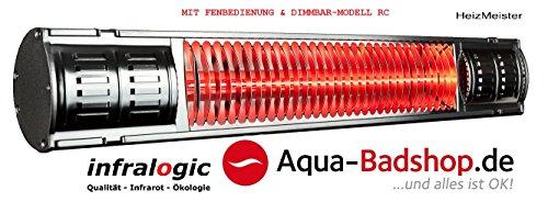 HeizMeister©-Infralogic-Infarotstrahler RC mit Fernbedienung und Dimmbar-Professionell 2000-1x 2000W-Alu poliert-IP65-Maße:67x10x7,7-Erwärmungsfläche:16qm-Robust und Leistungsstark